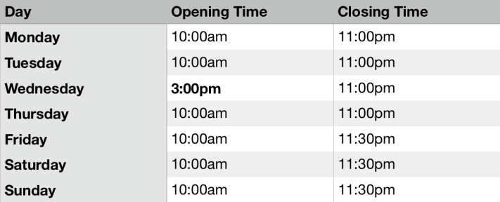 opening times termtime
